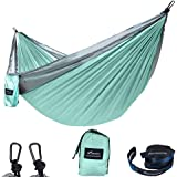GEEZO Double Camping Hammock, Lightweight Portable Parachute (2 Tree Straps 16 LOOPS/10 FT Included) 500lbs Capacity Hammock