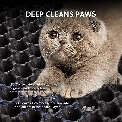 WePet Cat Litter Mat, Kitty Litter Trapping Mat, Large Size, Honeycomb Double Layer, No Phthalate, Urine Waterproof, Easy Clean, Scratch Scatter Control, Catcher Box Pads Rug Carpet 30x25 Inch Grey