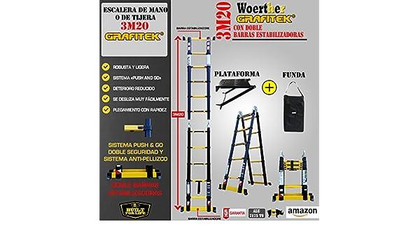 ESCALERA DE TIJERA TELESCÓPICA TRIPLE FUNCIÓN / 3M20-1M60 /CON PLATAFORMA + FUNDA / GAMA GRAFITEK / CON DOBLE BARRAS RUEDINES / GARANTÍA 5 AÑOS: Amazon.es: Hogar