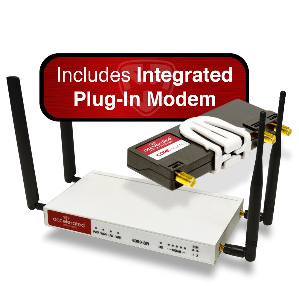 Accelerated Modular 6350-SR LTE Router (Without Wi-Fi) and Integrated Plug-in LTE Modem; CAT 3; LTE/HSPA+ / EV-DO by Accelerated