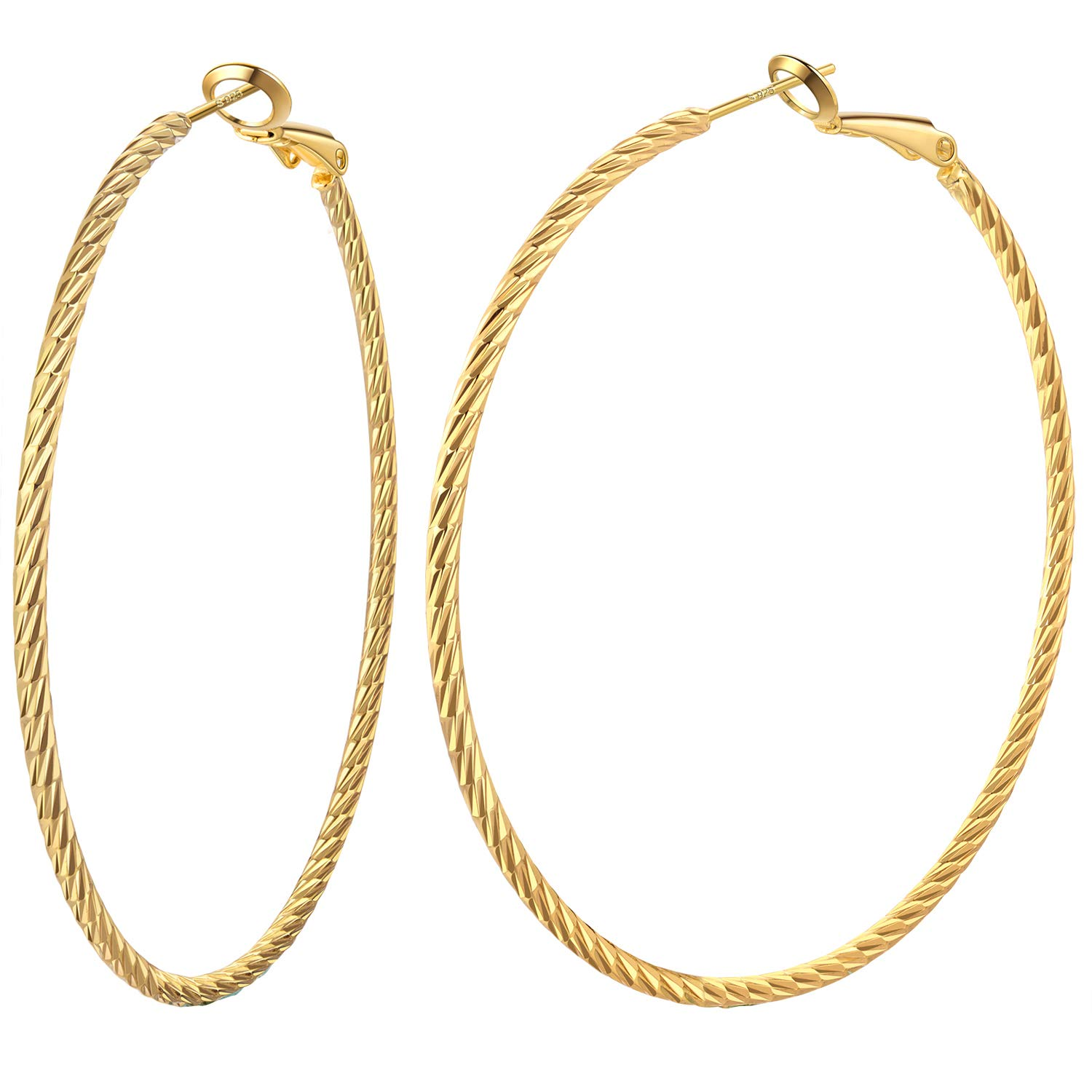 Big Hoop Earrings for Women Sterling Silver Post 14K Gold Plated 60mm Twisted Spiral Style Hoops Loop Earrings Valuable Gift to Girls