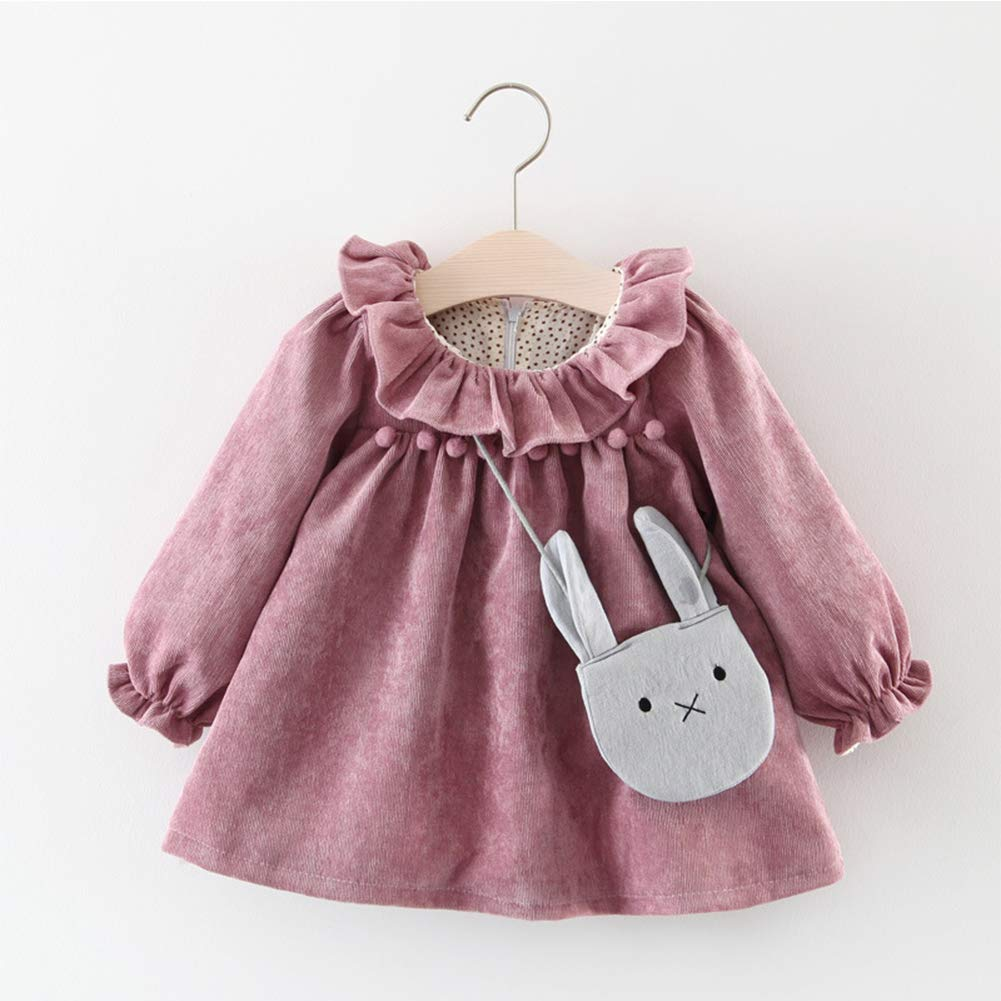 Verypoppa Baby Girls Ruffles Long Puff Sleeve A Line Blouse Shirt Dress