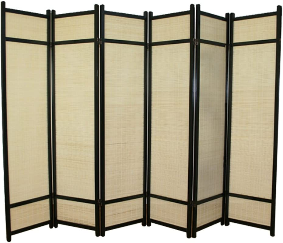 PEGANE Biombo de Madera Negro con bambú de 6 Paneles: Amazon.es: Hogar