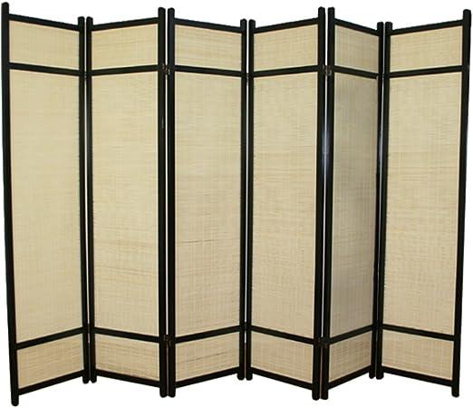 Style magnifique classique chic baskets PEGANE Paravent en Bois Noir avec Bambou de 6 pans: Amazon ...