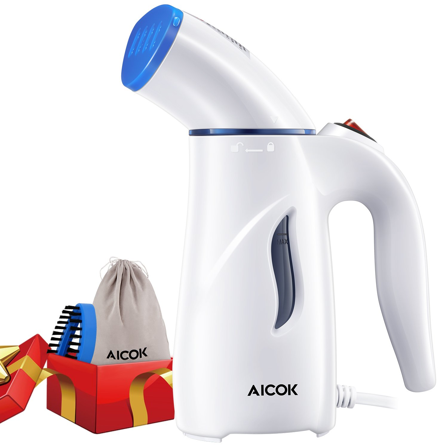Clothes Steamer, Aicok Handheld Garment Steamers for Clothes with Fabric Brush & Bag, Fast Heating Portable Travel Steamer, Perfect for Ironing, Cleaning, Sterilization and Fabric Soften