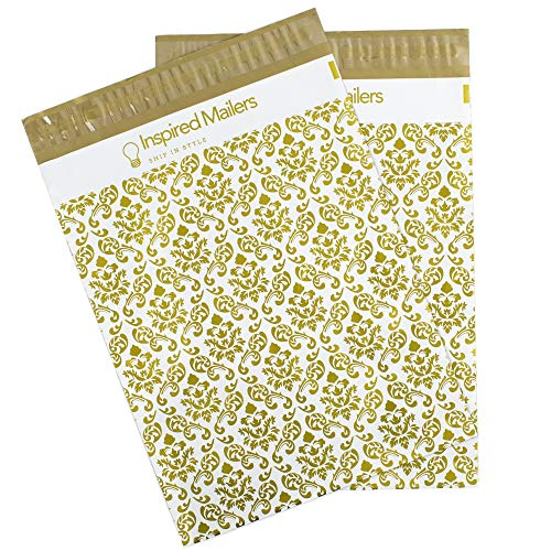 Inspired Mailers - Poly Mailers 10x13 - Damask Pattern Deluxe (Gold) - 100 Pack - 3.15mil Unpadded Shipping Bags - Mailing Envelopes ()