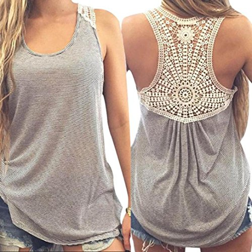 Blouse,NOMENI Women Summer Lace Vest Short Sleeve Casual Tops T-Shirt