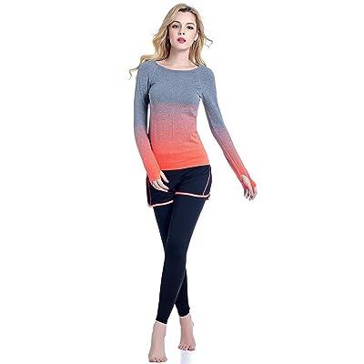 HJMTRY Femme Sports Yoga Vêtements Costume à manches longues Séchage rapide Fitness 2 pc Suit pour la formation de Yoga de formation Gym Casual Wear , L