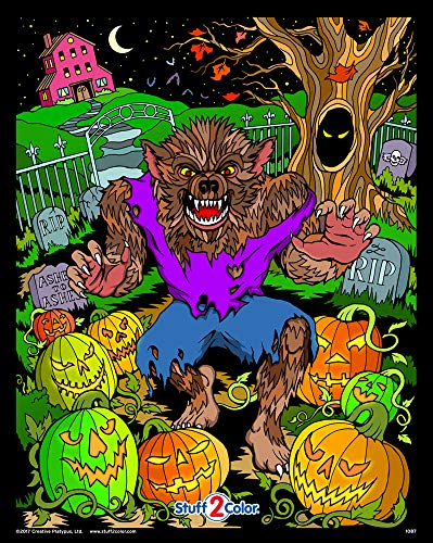 Halloween Werewolf - Fuzzy Coloring Poster -
