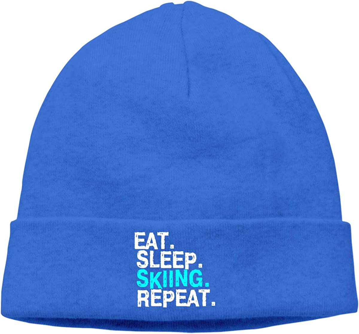 09/&JGJG Eat Sleep Skiing Repeat Men Women Knit Beanie Cap Outdoor Newsboy Hat