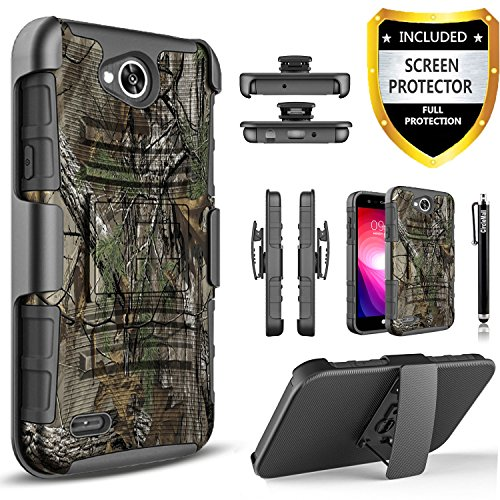 LG Fiesta 2 Phone Case, LG X Charge Case, LG X Power 2 Case, LG Fiesta LTE Case,Circlemalls [Combo Holster]Built-In Kickstand Bundled With [HD Screen Protector] Hybird Shockproof And Stylus Pen(Camo)