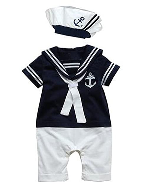 243d3a0c1 Arrowhunt Baby Boys Girls Anchor Sailor Navy Striped Photo Props Romper  with Cap: Amazon.co.uk: Clothing