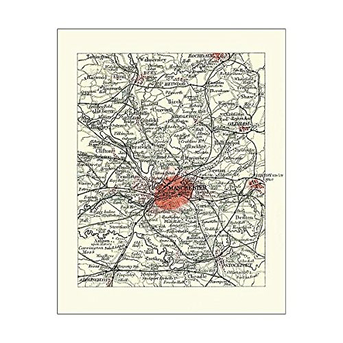 Media Storehouse 10x8 Print of Antique map, Manchester, England, 19th Century (15107367) ()