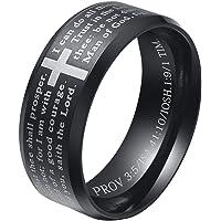 ALEXTINA Men's 8MM Stainless Steel Bible Verse Christian Lord's Prayer Cross Ring Wedding Bands Black Size 8