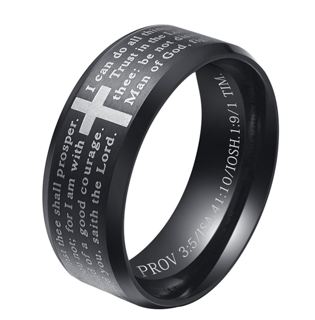 Alextina 8mm Men S Stainless Steel Bible Verse Christian Lord S