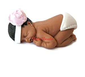 Handmade Fondant Naked Sleeping Baby Cake Topper