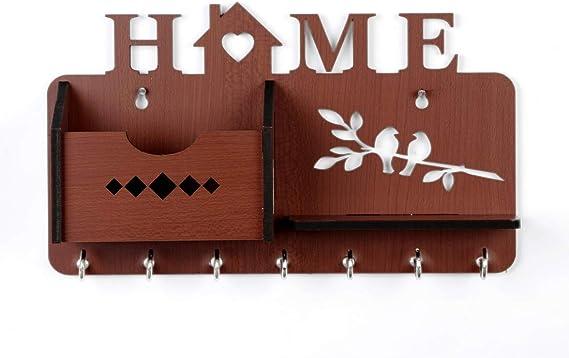 Sehaz Artworks Home Side Shelf Brown Keyholder Wooden Key Holder For Wall Decorative 7 Hooks Office Products