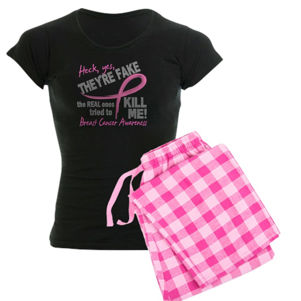 855fa0ff Amazon.com: CafePress - Yes They're Fake Breast Cancer Women's Dark Pajama  - Womens Novelty Cotton Pajama Set, Comfortable PJ Sleepwear: Clothing