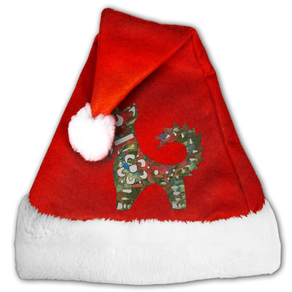 The Chinese Lunar Year 12 Animal Dog Pop Stylised Christmas Hat Velvet Santa Claus Hat S Size For Kid,M Size For Adult
