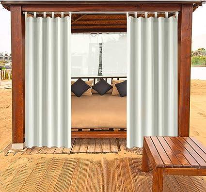 Cortinas al Aire Libre cenadores Cortinas de balcón Cortinas Opacas Cortina con Cierre de Velcro Resistente al Moho Resistente al Agua para Pavilion Beach House 1 Pieza, 132x305 cm, Blanco Crema: Amazon.es: