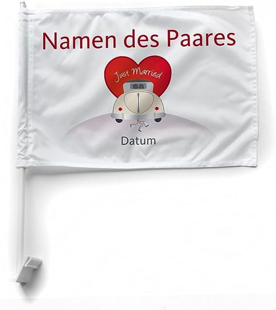 Herz Heim Autoflagge Fahne Zur Hochzeit Mit Namensaufdruck Des Paares Auto