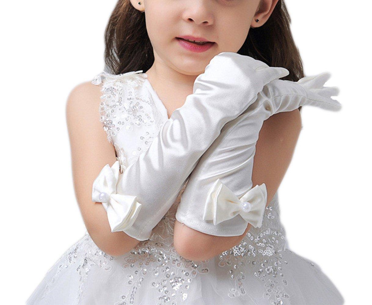 Simlehouse Flower Girl White Long Wedding Gloves Kids Dress Gloves 2018