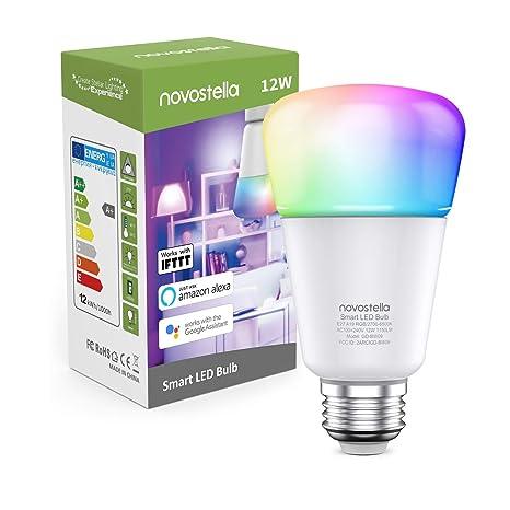 1150LM Bombilla LED Inteligente E27, 100W Bombilla=Novostella 12W Wifi Lámpara Colores/Intensidad Ajustable Funciona con Alexa, Echo, Google Home y ...