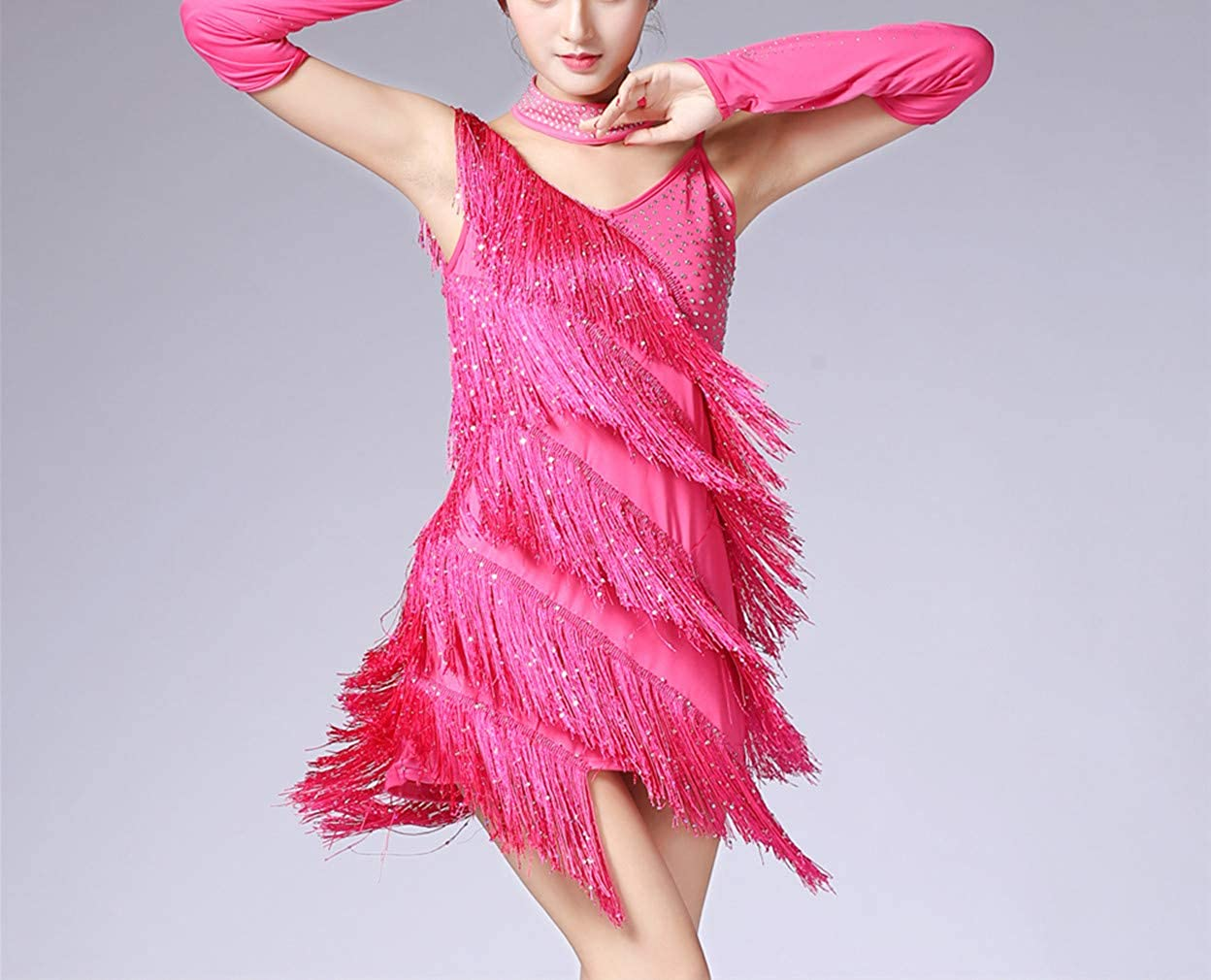 Women Stage Performance Camisole Costume Fringe Dancewear Outfit Glove Choker Tango Rumba KRUIHAN Latin Dance Dress Tassel Sequin