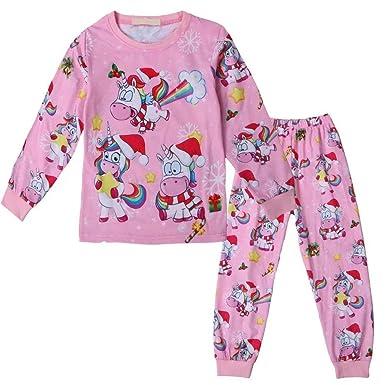 ce5e037127 Amazon.com  Girls Christmas Unicorn Pajamas Set Winter Sleepwear Pants Suit  Outfit  Clothing