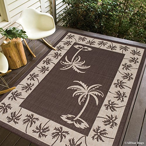Allstar 5 X 7 Chocolate with Ivory Indoor Outdoor With Palm Tree Patterns Area Rug (5' X 7') (Tree Pattern Palm)