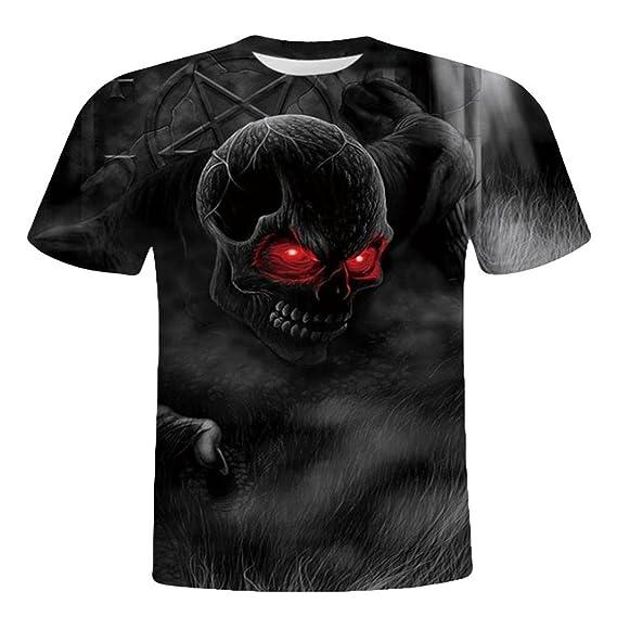 WINWINTOM Moda de Verano Camisetas, 2018 Camisetas y Polos De Hombre, Hombres Cráneo 3D Impresión Manga Corta Camiseta O-Cuello…
