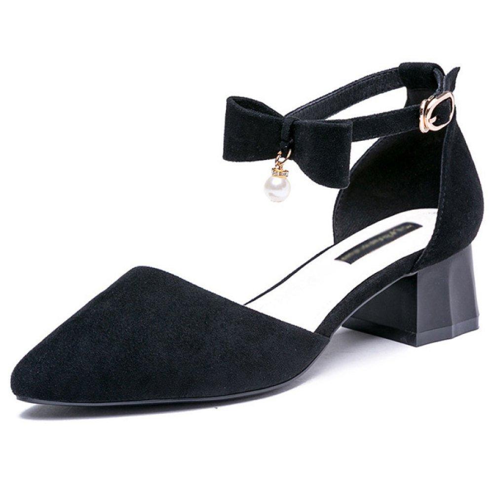 DKFJKI Damen Schnalle Sandalen Schleifen Ferse Ferse Studenten Spitz Mode Mary Jane Schuhe  35 EU|Black
