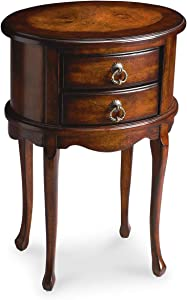 Butler Two Drawer Cherry Finish Oval Side Table w Tall Legs