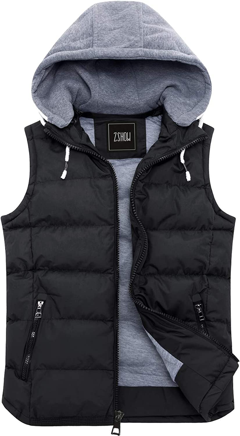 ZSHOW Men's Winter Removable Hooded Padded Puffer Vest