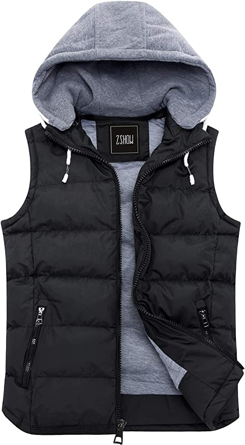 ZZOU Mens Down Gilet Lightweight Puffer Vest Waistcoat Jacket Autumn Winter Outdoors Puffer Gilet Vest Down Jacket Slim Fit Sleeveless Gilet Warm Comfortable Vest Hooded Jacket Sweater