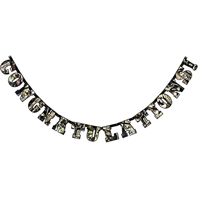 """Camo """"Congratulations"""" Banner (Large, 7"""" Cardboard Cutout Letters) Hunting Camo Party Collection by Havercamp : Kitchen & Dining"""