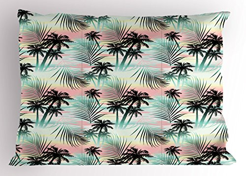 Ambesonne Hawaii Pillow Sham, Summer Season Palm Trees and Exotic Fern Leaves with Abstract Colorful Background, Decorative Standard Queen Size Printed Pillowcase, 30 X 20 Inches, Multicolor by Ambesonne