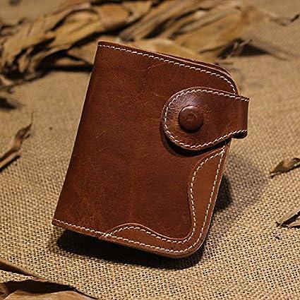 Monedero de cuero de cuero, retro Monedero artesanal, marrón ...
