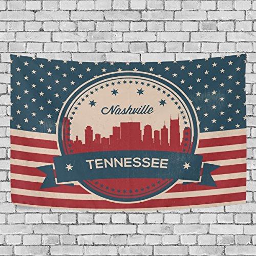 Vintage American Flag Tennessee State Nashville Skyline Art Decoration, Bedroom Living Kids Girls Boys Room Dorm Accessories Wall Hanging Tapestry, 60X51 - Nashville Eyeglasses