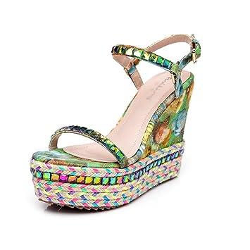 Meng Wei Shop Sommer neue Stil Damenschuhe Hang mit wasserdichten Bohemian Strass Sandalen Stroh kleine Schuhe...