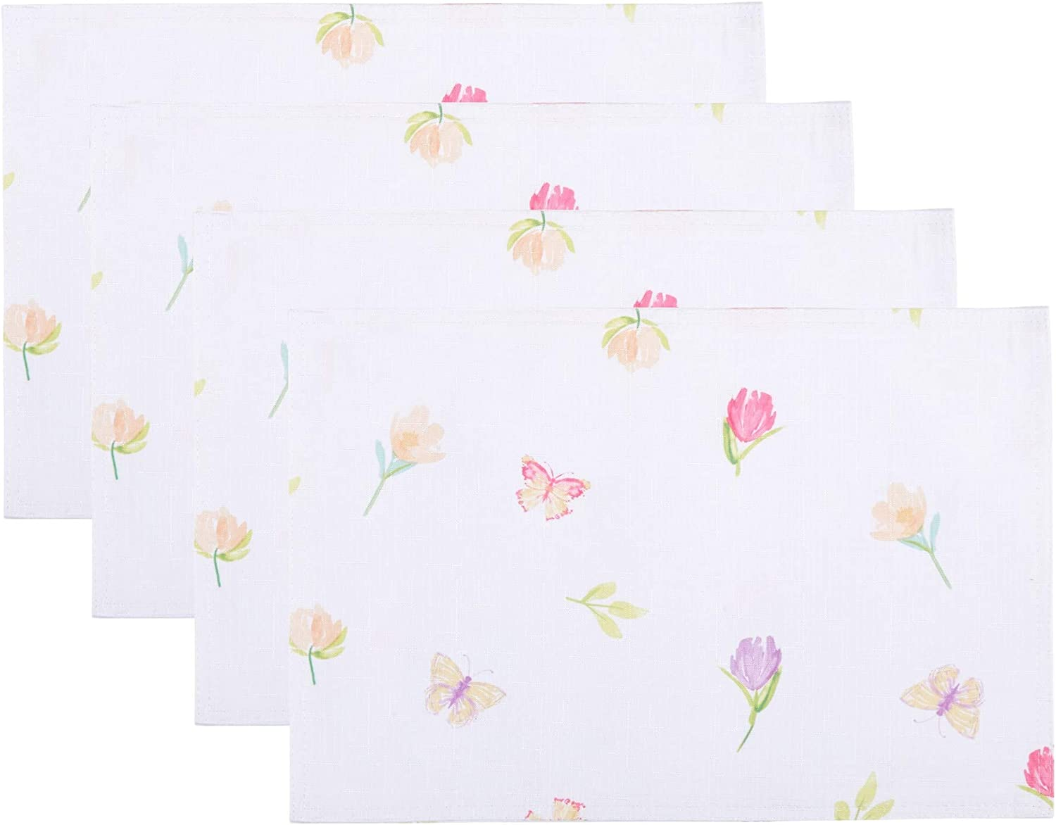 Bunnies at Play Easter Pastel Print White Background Floral Polyester Fabric Place Mats (Set of 4 Placemats)