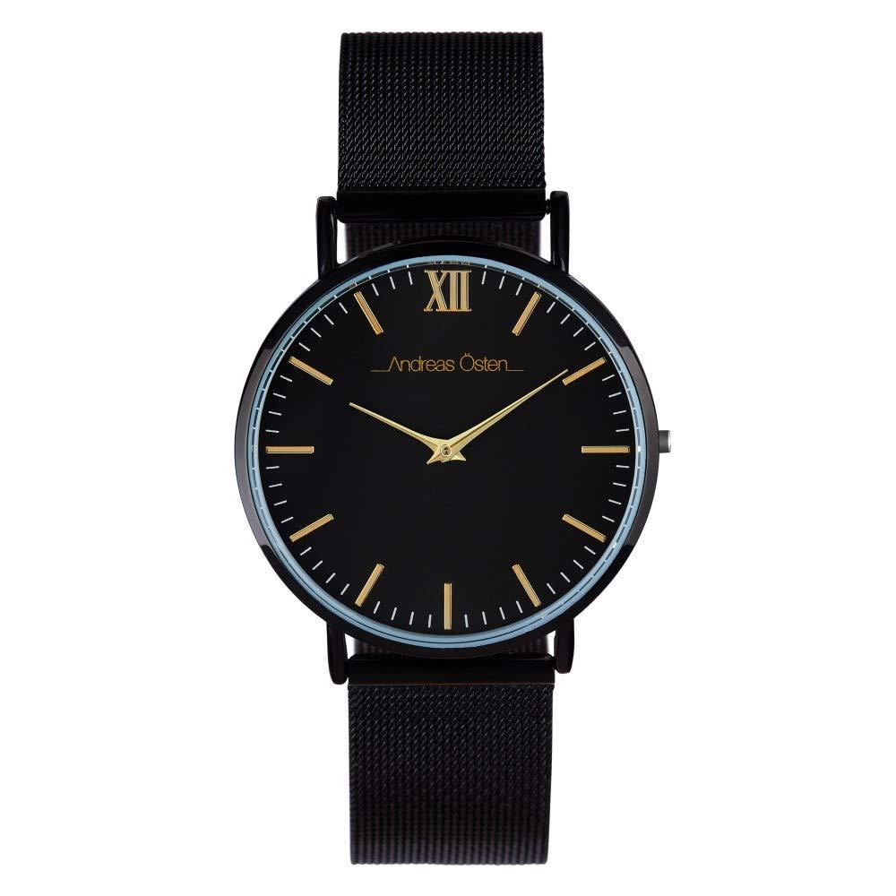 Andreas Osten Unisex Quartz Watch 36 mm Black Dial and Silver Mesh Bracelet AOW18006