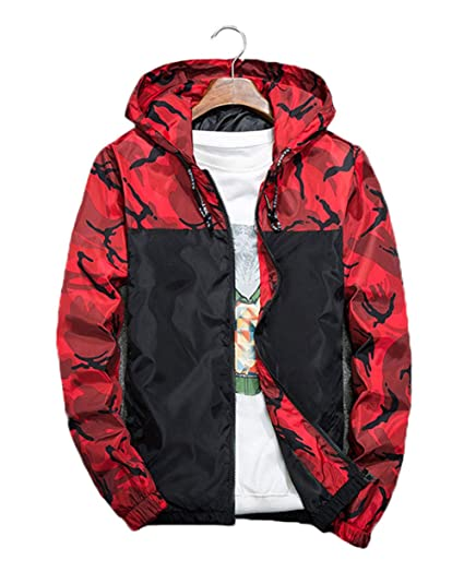2615dca77a91c XARAZA Men's Long Sleeve Camo Hoodie Jacket Outwear Hooded Windbreaker  Winter Clothes at Amazon Men's Clothing store: