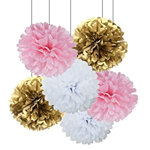 18pcs Pink and Gold Craft Tissue Paper Pom-Poms Kit Hanging Decorations Paper Flowers Tissue Balls Ceiling Hangings Wall Decor Wedding Favors Baby Shower Party Decorations