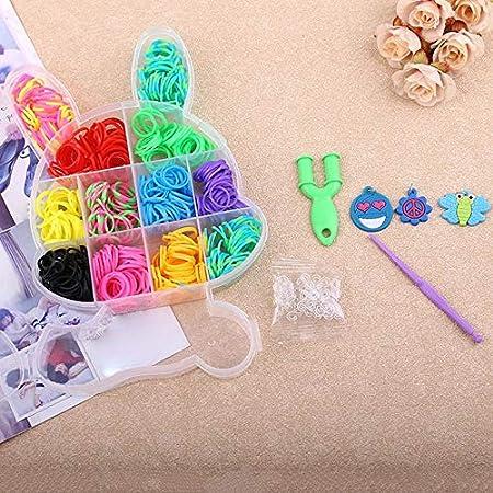 Conejo en caja Loom Band DIY Pulsera Máquina de tejer Colorida banda de goma elástica Kit de manualidades de punto para niños - Multicolor: Amazon.es: Hogar