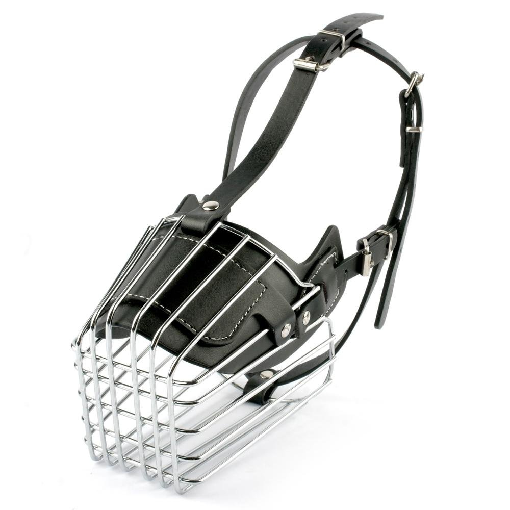 Black Buildent(TM)Black  Brown Strong Metal Wire Basket Dog Muzzle For Large Dog Amstaff Pitbull Bull Terrier Anti-Bite Bark Chew Muzzles
