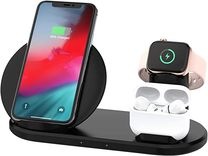 Yaature 3 in 1 Wireless Charger, Qi Charging Station for Apple Watch & AirPods, Nightstand Mode for iWatch 54321, Fast Charging Stand for iPhone