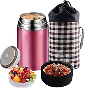 Flantor Food Jar for Hot Food,Stainless Steel Thermal Food Flask for Ice Snack,BPA Free Lunch Box with Handle Lid,Leak Proof Double Wall Vacuum Insulated Soup Container (Pink)