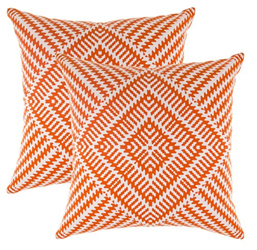 TreeWool, (2 Pack) Throw Pillow Covers Kaleidoscope Accent in Cotton Canvas (24 x 24 Inches, Orange) - 24 Throw Pillows