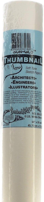 8 lb White Borden /& Riley #35C Sun-Glo Thumbnail Sketch Paper 18 Inches x 20 Yards Per Roll 35WR182000 1 Roll Each